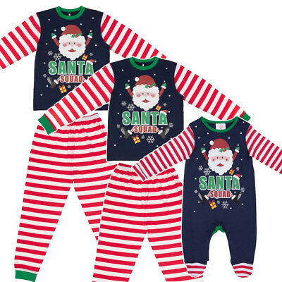 Santa Squad Christmas Xmas Pyjamas Family Mum Dad Children Baby Family Elf PJ