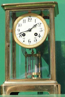 Antique French Japy Freres 8 Day Four Glass Corniche Case Mantle Clock