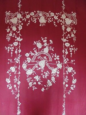 Huge Fine Late 19th Century Chinese Qing Coverlet Embroidery on Oxblood Silk
