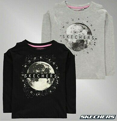 Girls Skechers Crew Neck Top Cold Shoulder Long Sleeve T Shirt Sizes Age 4-9 Yrs