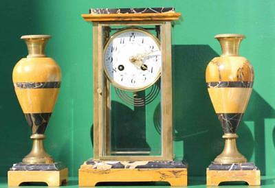 Art-Deco French Finest Marble 4 Glass Crystal Mantle Clock With Garniture Urns