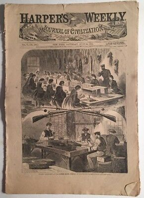 WINSLOW HOMER Harper's Weekly July 20 1861  Civil War Original-Watertown Mass