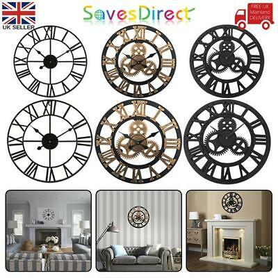 LARGE TRADITIONAL VINTAGE STYLE WALL CLOCK ROMAN NUMERALS 40/60cm 3 COLOURS UK