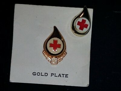 American Red Cross Pins - 2 Gallon Donor 10k Gold Plate + 1 Pin