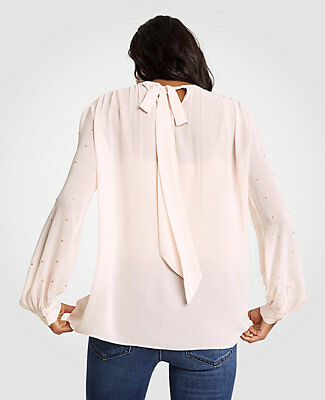 NWT Ann Taylor Women's Chiffon Tie Back Top - Peach Blush - Size Medium