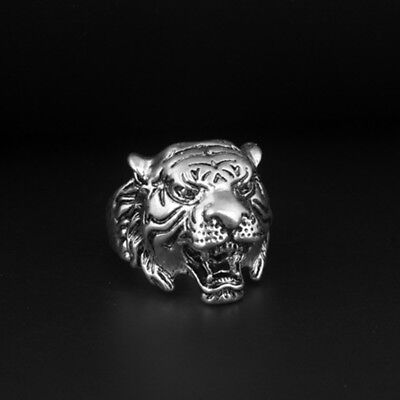 Vintage Fashion Stainless Steel Men's Punk Tiger Crystal Biker Ring Jewelry Gift