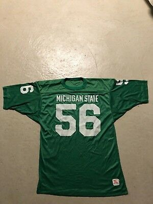 VTG 70s/80s Champion MICHIGAN STATE SPARTANS #56 Green Football Jersey XL RARE
