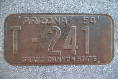 1954 Arizona License Plate, Mohave Co. Low # T-241.