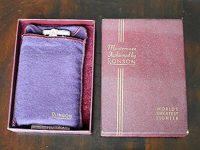 Vintage Ronson Mastercase Lighter in Original Box with Pouch