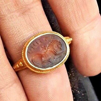 Ancient Carnelian Intaglio Signet Sphinx Genuine Solid 22K Gold Engraved Ring