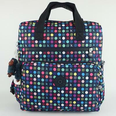 KIPLING AUDRIE Baby Backpack Diaper Bag with Changing Mat K Multi Dots