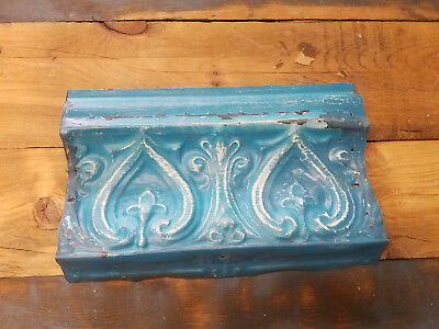Antique Tin Ceiling Cornice Tile Heart and Fleur De Lis Pattern 12 inches