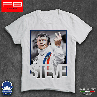 T-Shirt STEVE McQUEEN RACING IS LIFE Ford GT40 Mustang Film BULLIT Race FB SLUB