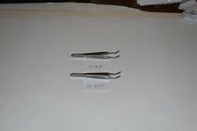 "2 Pc Set Graefe Eye Dressing 2.75"" Serrated And Iris 1X2 Teeth Curved Forceps"