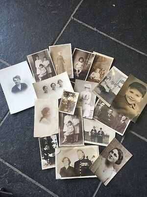Vintage Collection Of 17  Old Family Photos And Postcards