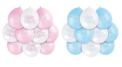 10 Baby Shower Boy/Girl Pink/Blue Balloons Newborn Party Decorations Air Fill
