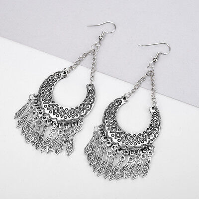 Fashion Women's Long Drop Feather Earrings Bohemia Boho Tassel Earring Z