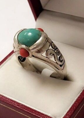 Antique Turquoise And Coral Ring Sterling Silver 10