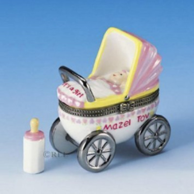 Mazel Tov Baby Hinged Box Carriage with Baby Bottle Treasure pink