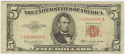 1953-C $5 *star* Us Note Red Seal ~ Fine/vf ~ Priced Right! (Inv#644)
