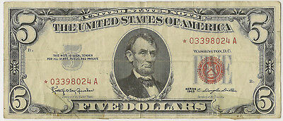 "1963 $5 Us Note Red Seal *star* ""taped"" ~ Fine/vf! (Inv#024)"