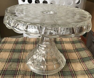 Antique EAPG Early American Pattern Glass Tall Pedestal Cake Stand