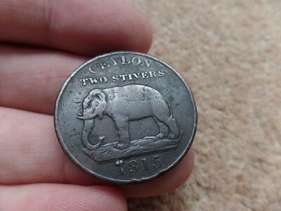 Rare Old Collection British-Ceylon Large  Coin 1815s.  34mm  . Good Gift!
