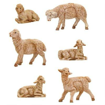 "Fontanini Set of 6 SHEEP, 5"" Scale Nativity Figurines, by Roman 55016"