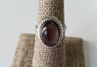 Mood Ring Textured Weave Vintage Silver Tone Fashion Rings Adjustable Lucite