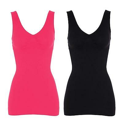 bc2ac49cc8 SJINC Women s Cami Shaper Tummy Control Padded Seamless Long Compression  Tank.