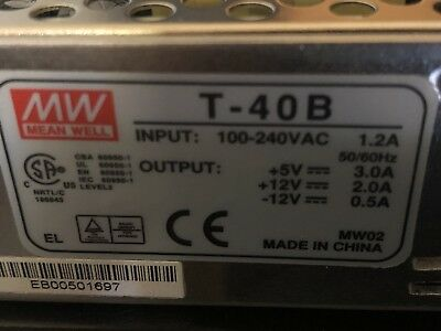 Mean Well T-40B Power Supply, Input: 100-240VAC 1.2A, Output: 5VDC/±12VDC