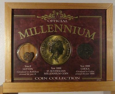 Millennium Coin Collection 3 Coin set from Year 0 Lepton, 1000 Chola, 2000 $5 AU