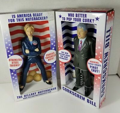 Hillary Nutcracker and Corkscrew Bill Clinton Doll DAMAGED BOXES but NEW