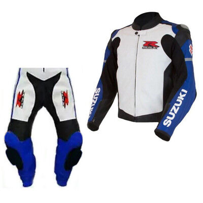 GSXR SUZUKI Mens Racing Biker Leather Suit Motorbike/Motorcycle Leather Suits