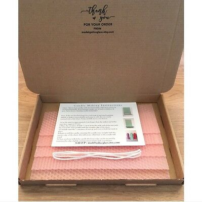 Beeswax Candle Making Kit, 5 Beeswax sheets, Instruction Wick, Pink Wax