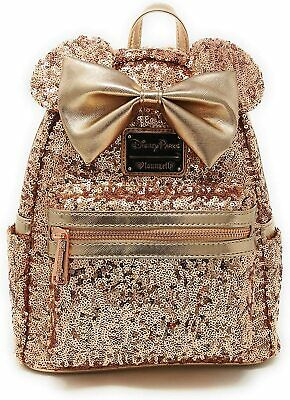 Disney Parks Loungefly Minnie Mouse Rose Gold Sequined Mini Backpack Disneyland