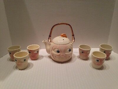 RARE Vintage Man in the Moon Teapot & Tea Cups / Made in Japan