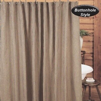 York Black Tan Ticking Stripe Shower Curtain Valance Primitive Farmhouse