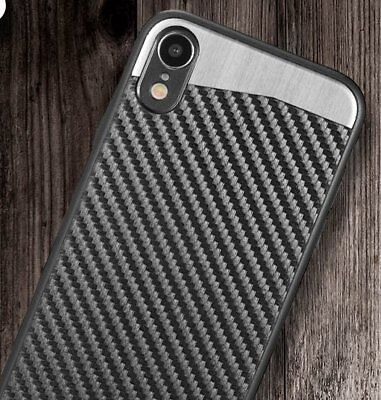 "for iPhone XR (6.1"") - Magnetic Back BLACK Carbon Fiber Hard Rubber Case Cover"