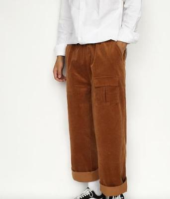 Mens Retro Corduroy Loose Wide Legs Cropped Pants Casual Chic Trousers NEW H304