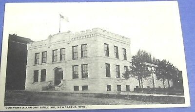 Vntg 1919 COMPANY A ARMORY BUILDING, NEW CASTLE WY POSTCARD