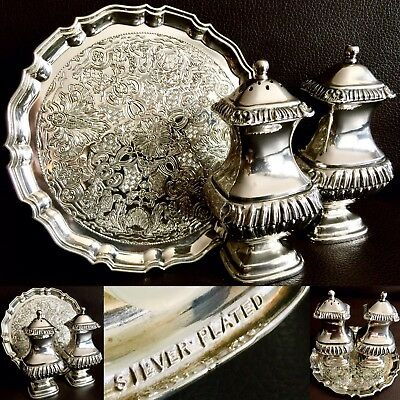 Antique Ornate Heavy (750g) English Silver Plated Salt & Pepper Pots & Tray Set