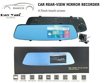 "Touch Screen Real HD 4.9"" Dash Cam Car DVR Rearview Mirror Camera Recorder"