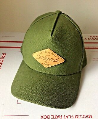 37025598 REI National Park Service Hat Cap Canvas Army Green Leather patch 1916-2016  NWOT