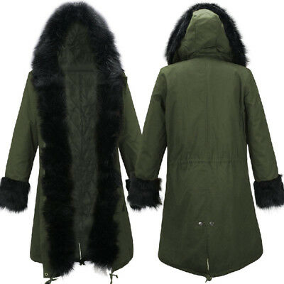 2016 Womens Warm Winter Faux Fur Hooded Parka Coat Overcoat Long Jacket Outwear