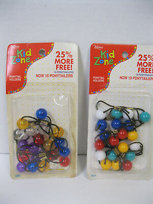 Vtg New 80s You Choose Clear & Solid Ball Hair Ties Ponytail Holders In Package