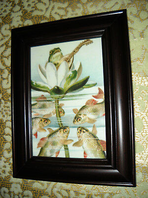 FROG SINGS TO FISH 3 X 5 Small brown framed animal picture Victorian style print