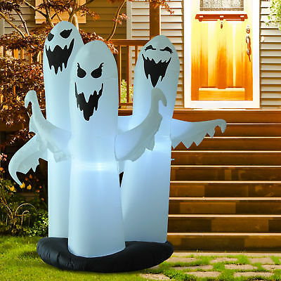 6ft Halloween Airblown Inflatable 3 Ghosts Led  Yard Outdoor Decorations Props