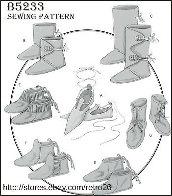 B5233 Sewing Pattern Renaissance Historical Footwear Slippers Boot Moccasins