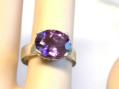 NATURAL 12x10mm purple amethyst 925 sterling silver ring size 6.5 USA  4mm band